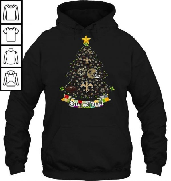 Merry And Bright New Orleans Saints NFL Christmas Tree T-shirt