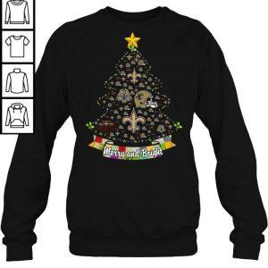b1534db6 merry and bright new orleans saints nfl christmas tree tshirt ladies vneck